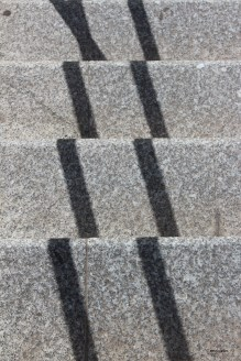 L'escalier (15 avril 2012) - J'aime le caractère abstrait de ce qui est très concret au départ, l'ombre d'une rampe métallique sur un escalier en béton.