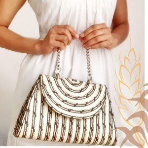 Handmade straw handbag with handle SinuForYou Raw