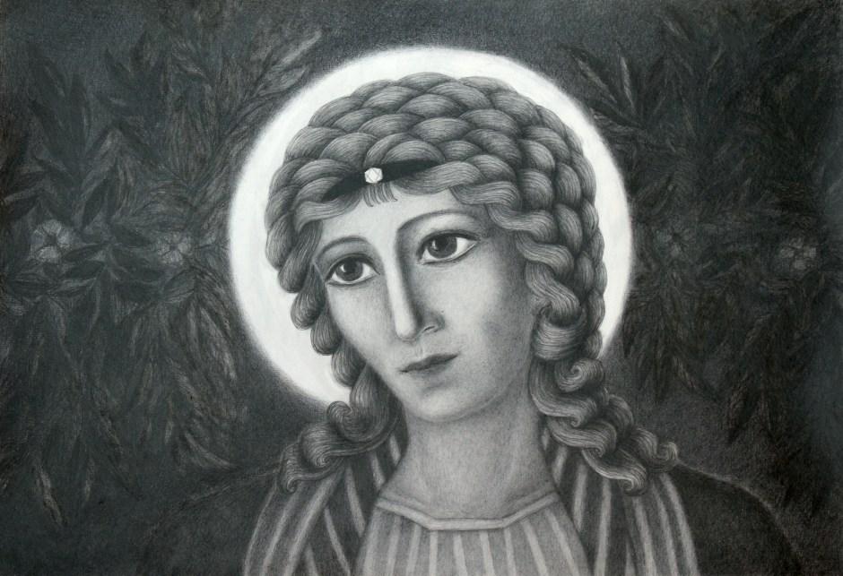 Sinikka Palosen lyijykynäpiirros enkeli