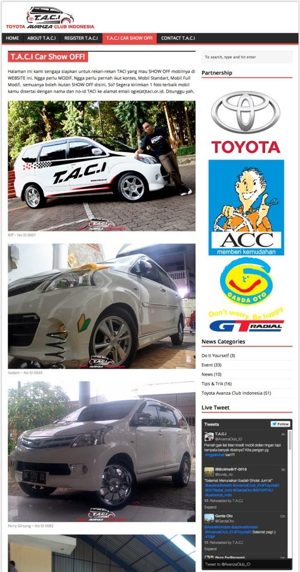 New Look Website TACI (Toyota Avanza Club Indonesia)
