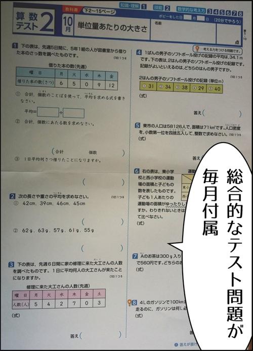 ポピーの算数総合テストの写真