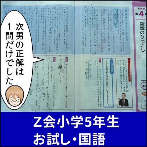 Z会資料請求の時に入っていた国語の見本