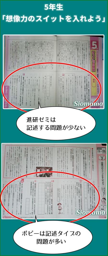 国語のワークでチャレンジはポピーに比べると記述する問題が少ないと写真で説明