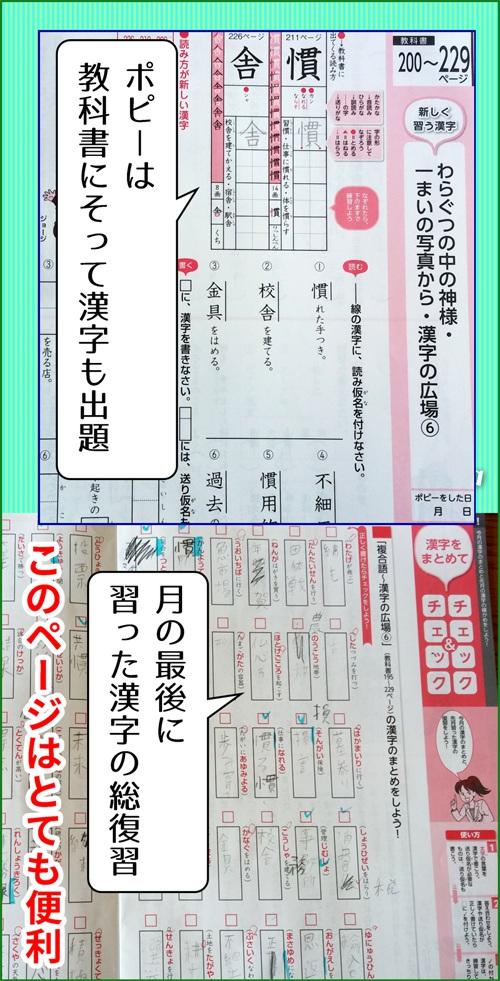 ポピーのテキストで漢字の勉強のページの写真
