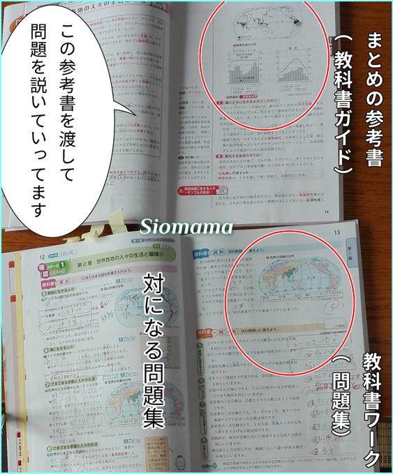 教科書ガイドと教科書ワークの中身の写真