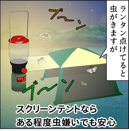 スクリーンタープなら虫嫌いの方にもキャンプをた示そうというイラスト
