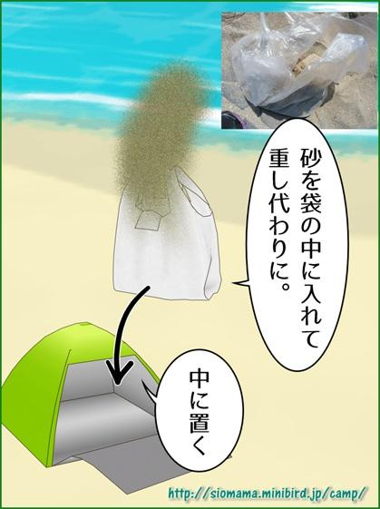 ポップアップシェードの固定に砂袋を作って置いておくといいと絵で説明