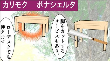 カリモク学習机の脚を切ってローデスクとして使えるという説明イラスト