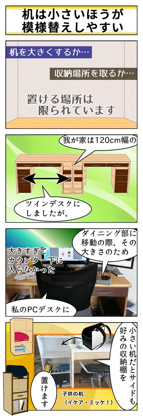 小さい机だとサイドに棚が置けたりと収納スペースを確保できるという漫画と、実際の次男の学習机周辺の写真