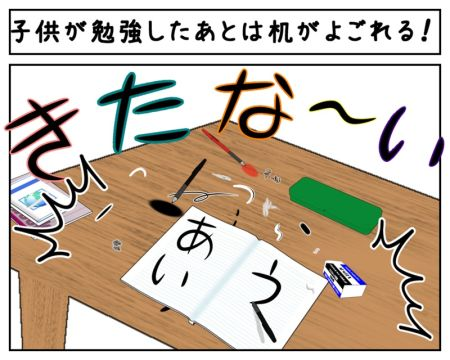 勉強をリビングテーブルでして机が汚れているイラスト