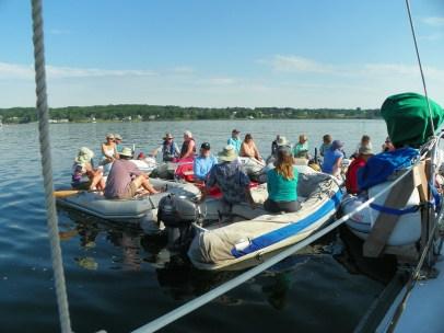 Dinghy raft-up: Starboard side