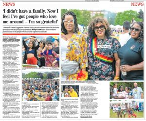 Picture Special in the Hackney Gazette of UK Black Pride. Photograph by Siorna Ashby, a portrait photographer in north London, Finsbury Park for the Hackney Gazette