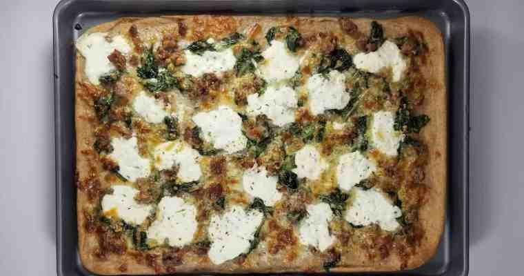 Sausage, Garlic and Ricotta Pizza + Allie's Wheat Pizza Dough Recipe