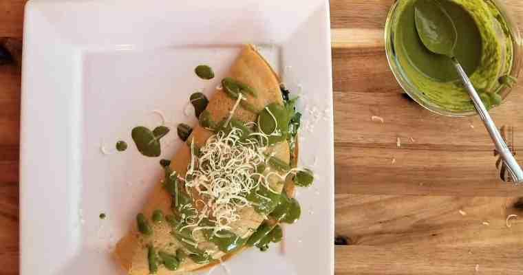 Spinach and Sausage Farinata with Pesto Crema
