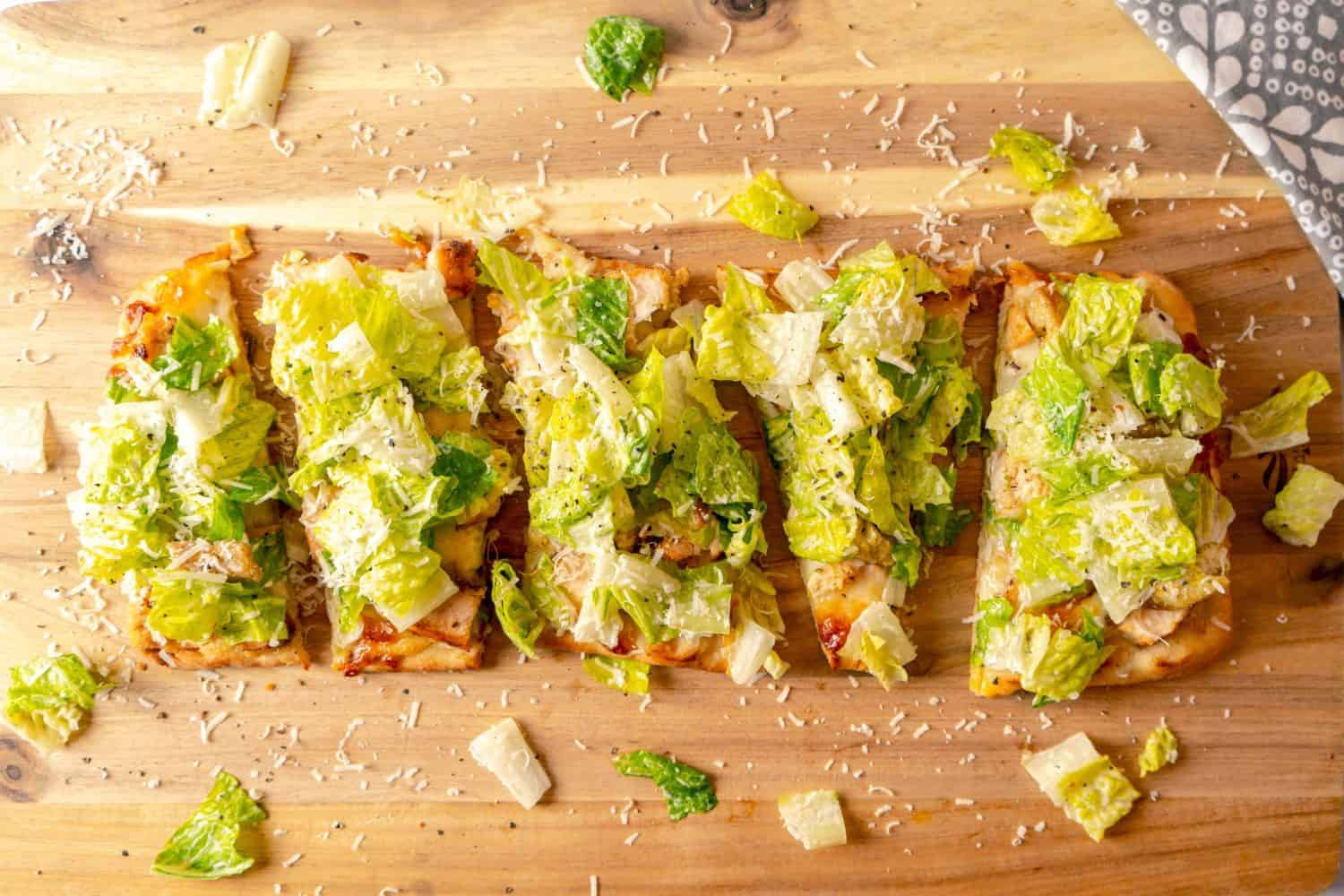 Chicken Caesar Salad Flatbreads