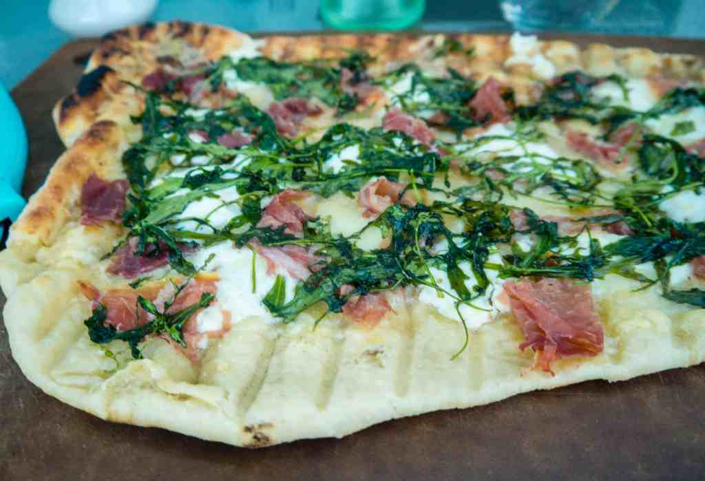Grilled Prosciutto and Garlic Ricotta Pizza | Sip + Spice
