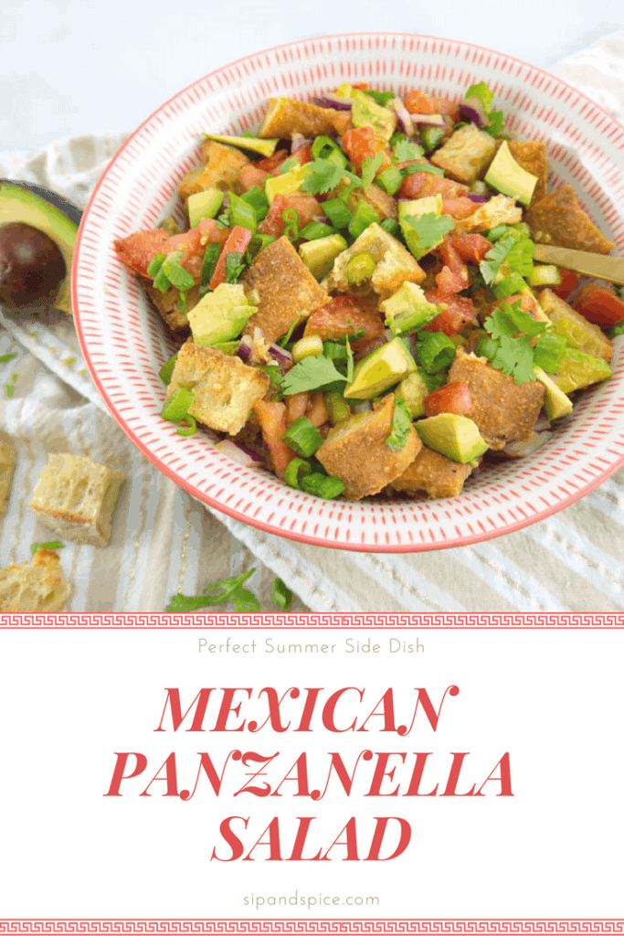 This Mexican Panzanella Salad makes the perfect side dish to any dinner!| Sip and Spice #sidedish #vegan #cleaneating #fusion #salad