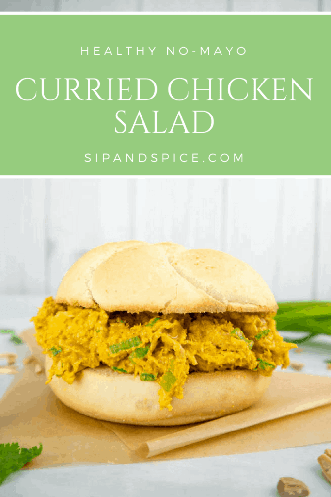 This Curried Chicken Salad has no mayo and makes the perfect summer lunch! | Sip and Spice #chicken #summerrecipes #currychicken #healthy #cleaneating