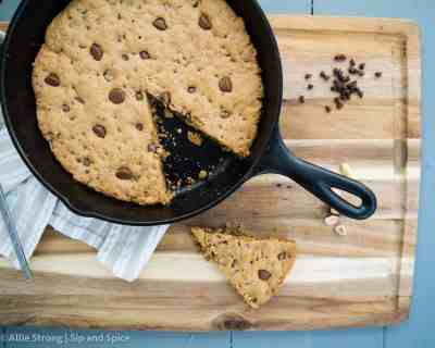Peanut Butter Chocolate Chip Skillet Cookie | Sip and Spice
