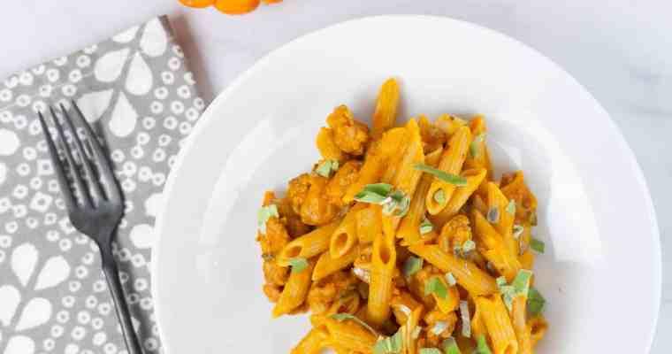 Sage Pumpkin Pasta with Spicy Sausage