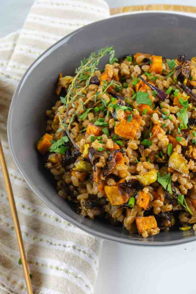 Warm Farro Salad with Sweet Potatoes and Brussels | Sip and Spice