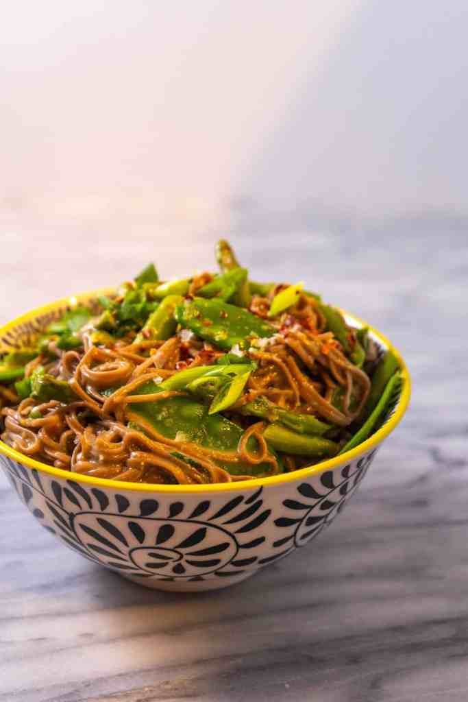 Miso-Butter Soba Noodles with Asparagus and Snow Peas | Sip and Spice