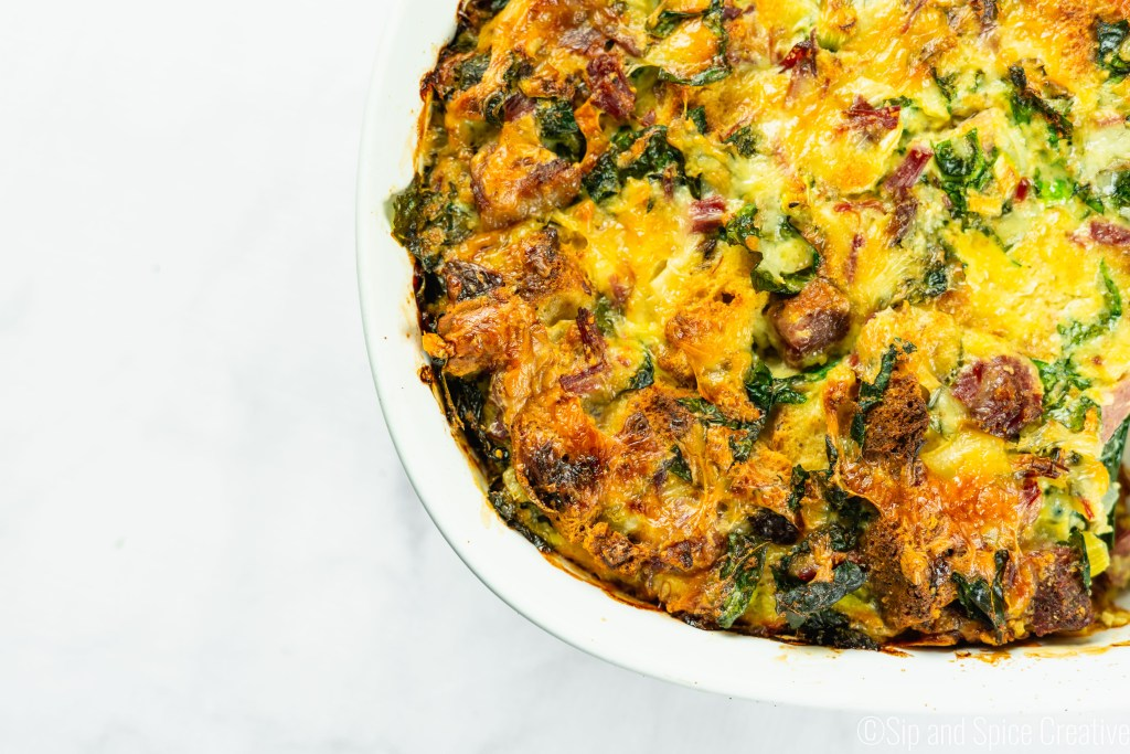 Corned Beef and Kale Strata with Irish Soda Bread, St Patrick's Day Brunch | Sip and Spice