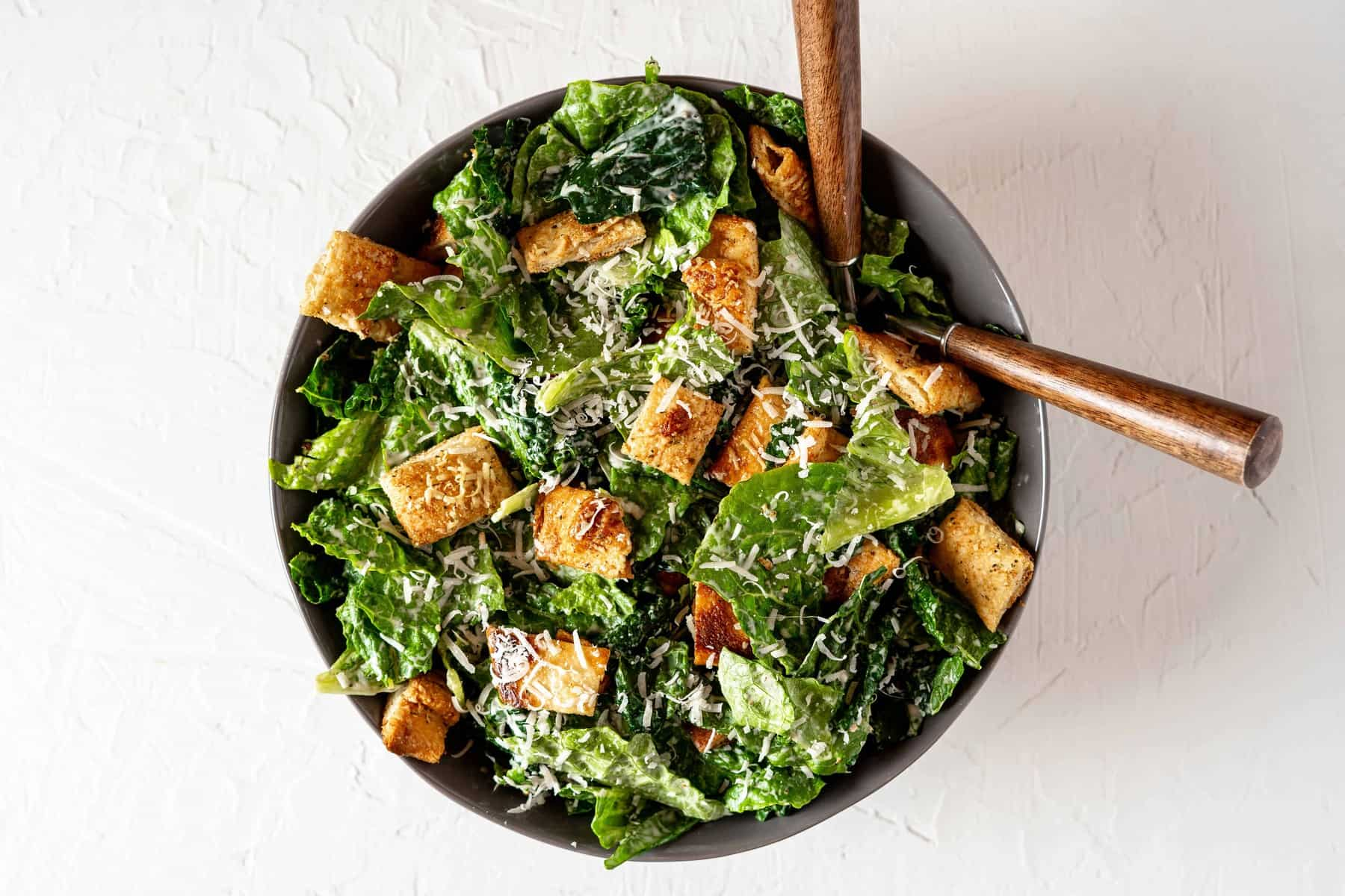 Kale Caesar Salad with Pizza Crust Croutons