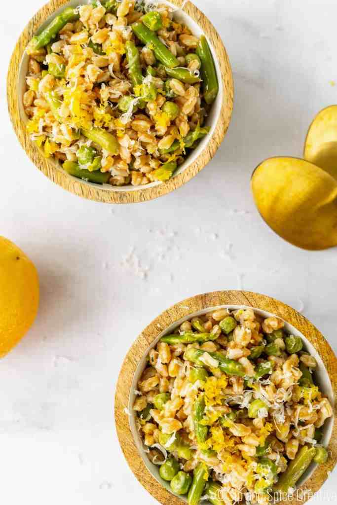 Spring Farro Salad with Asparagus and Meyer Lemon Vinaigrette | Sip and Spice