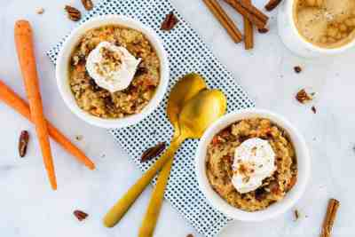 Vegan Carrot Cake Oatmeal with Coconut Whip | Sip and Spice