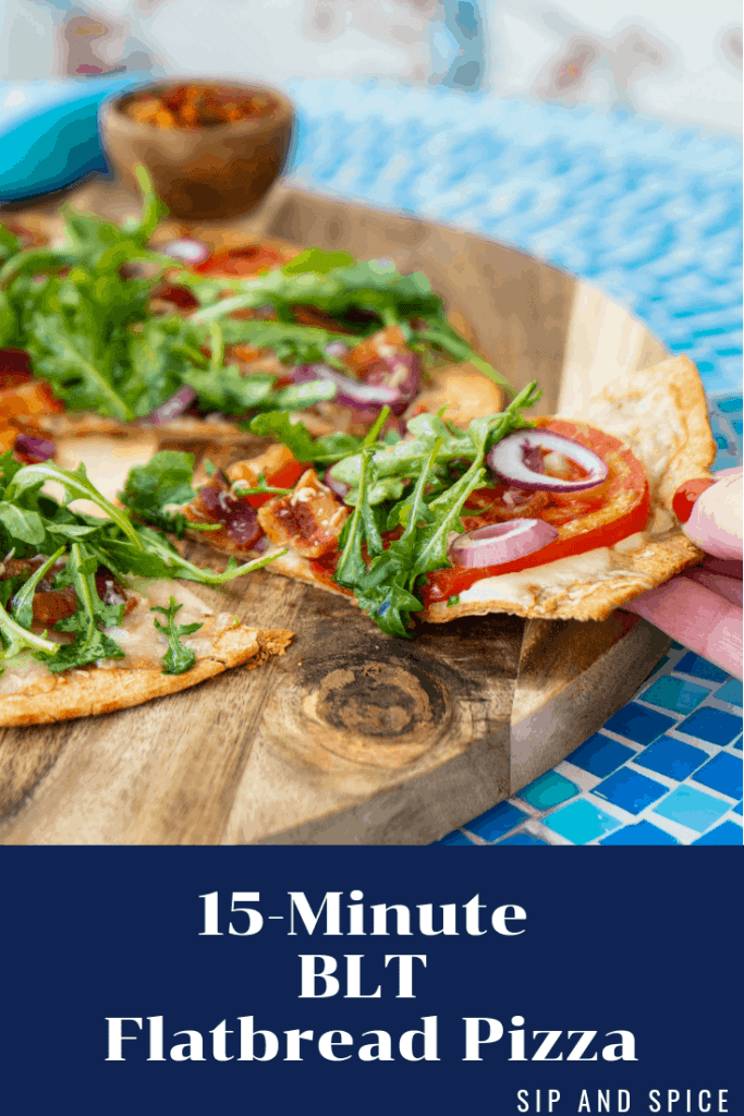 Oh helloooo 15 Minute BLT Flatbread Pizza! You're the dreamiest and a total must-make for busy weeknights when you can't be bothered to actually cook! | Sip and Spice #weeknightcooking #blt #flatbread #pizza #baconpizza #bcon