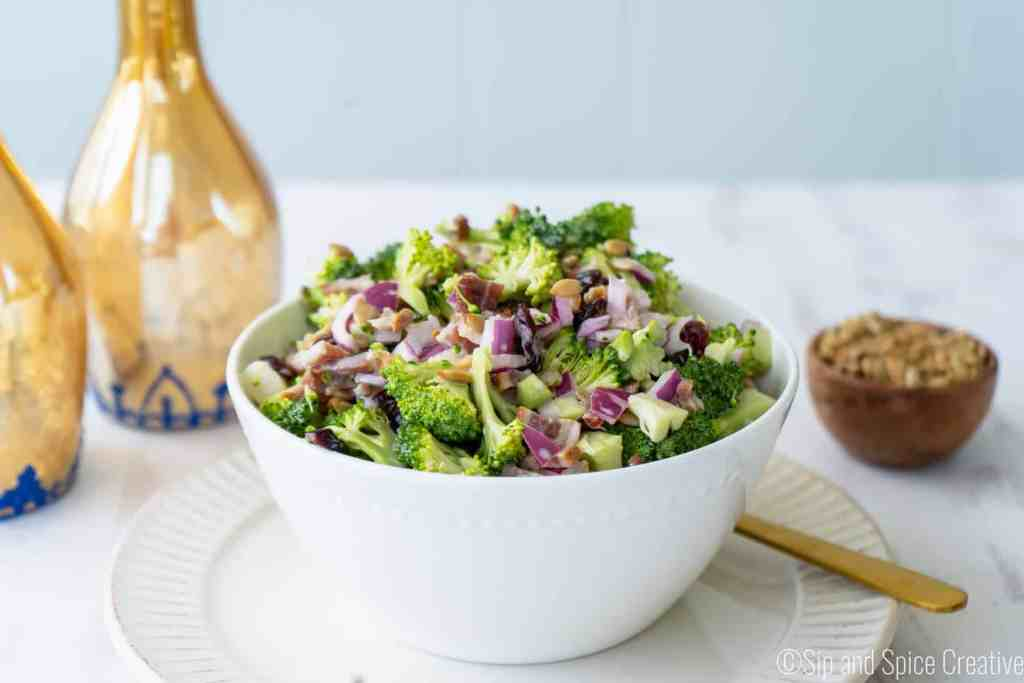 Broccoli Salad with Bacon and Greek Yogurt Dressing | Sip and Spice
