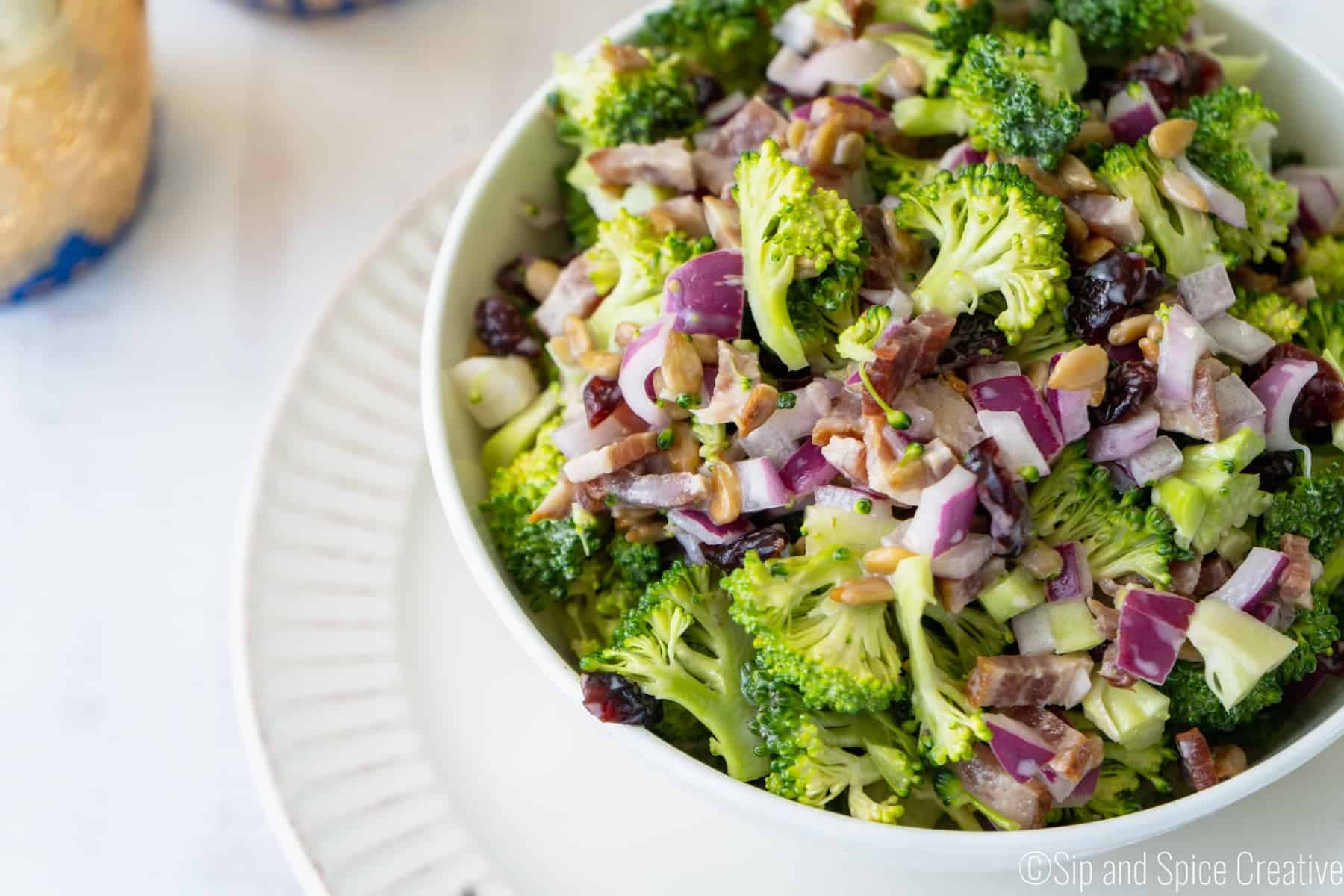Broccoli Salad with Bacon and Greek Yogurt Dressing