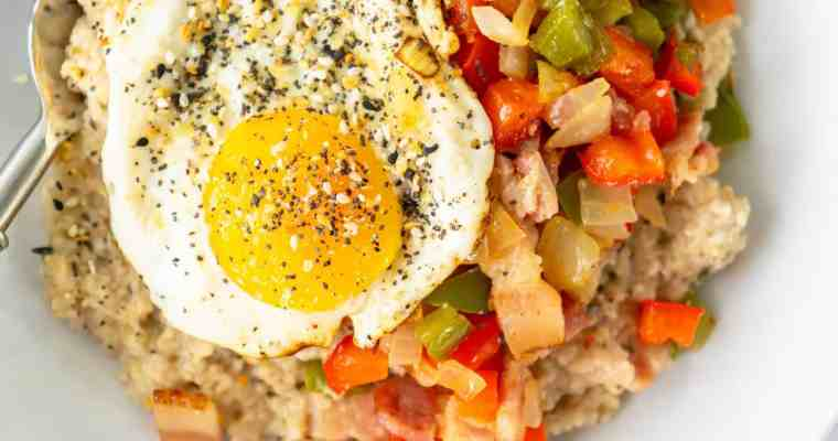 Savory Oatmeal with a Fried Egg and Bacon