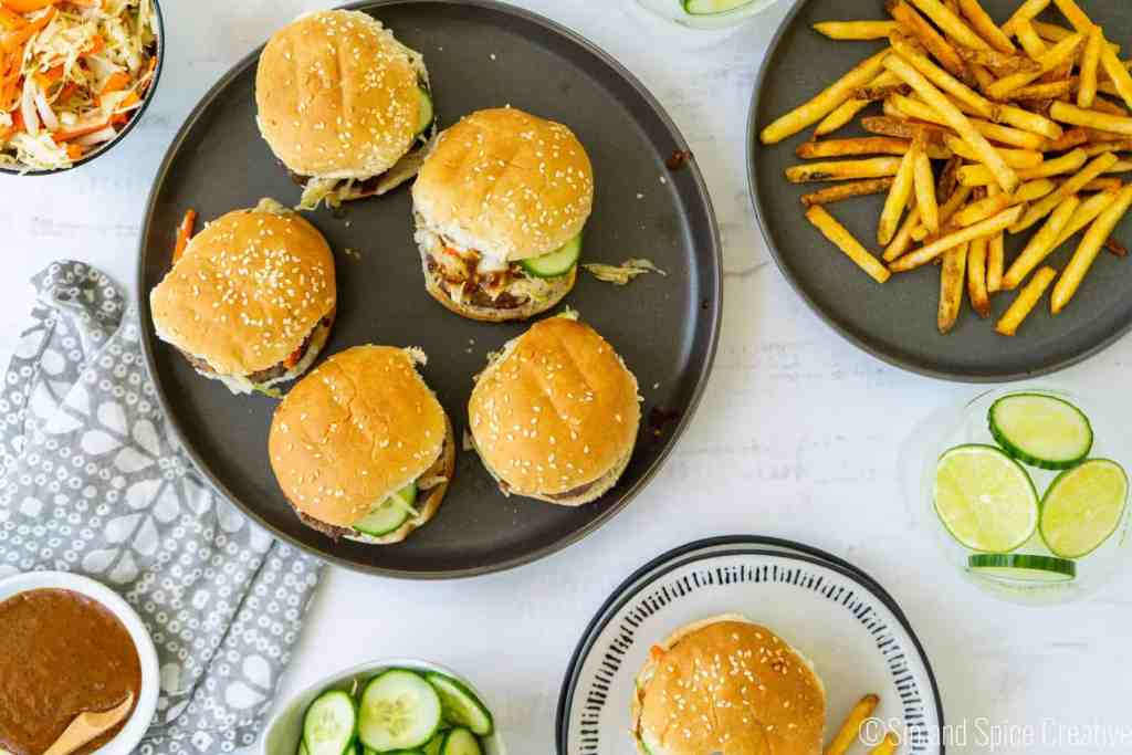 Asian Sliders with Almond Sauce and Cabbage Slaw | Sip and Spice