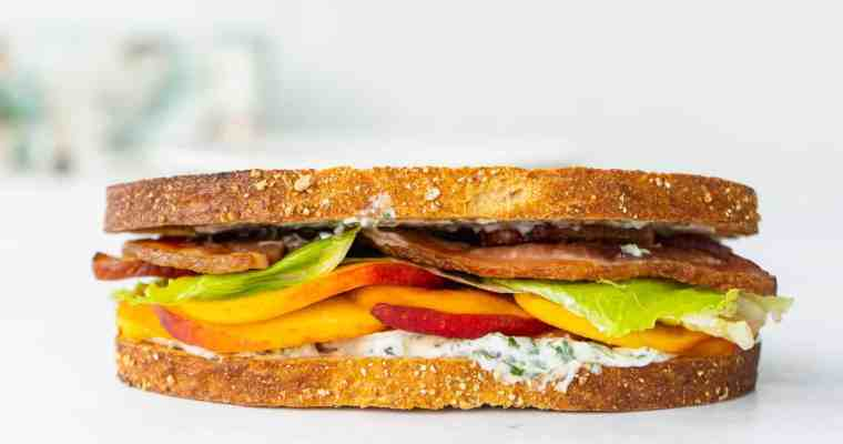 Bacon, Lettuce and Peach Sandwich with Basil Mayo