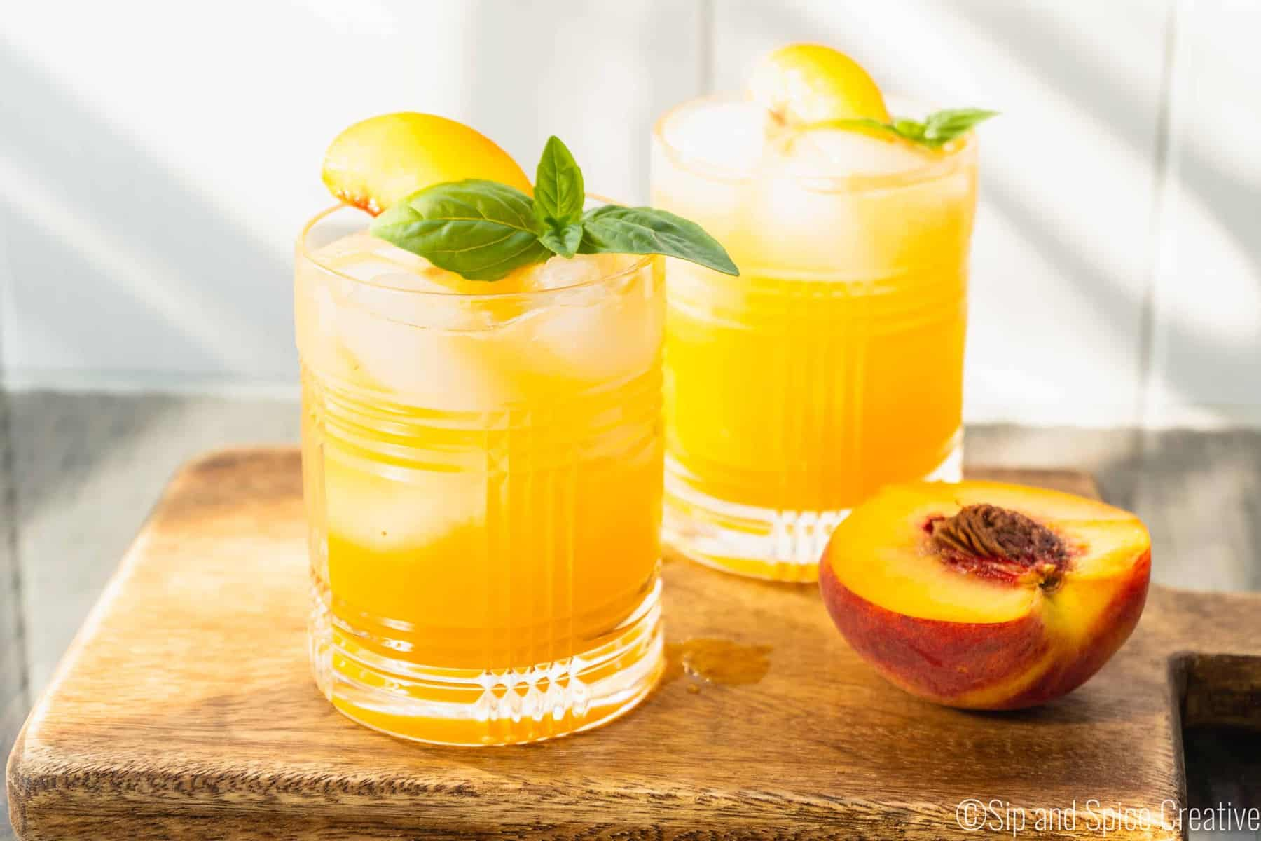 Basil Peach Whiskey Cocktail