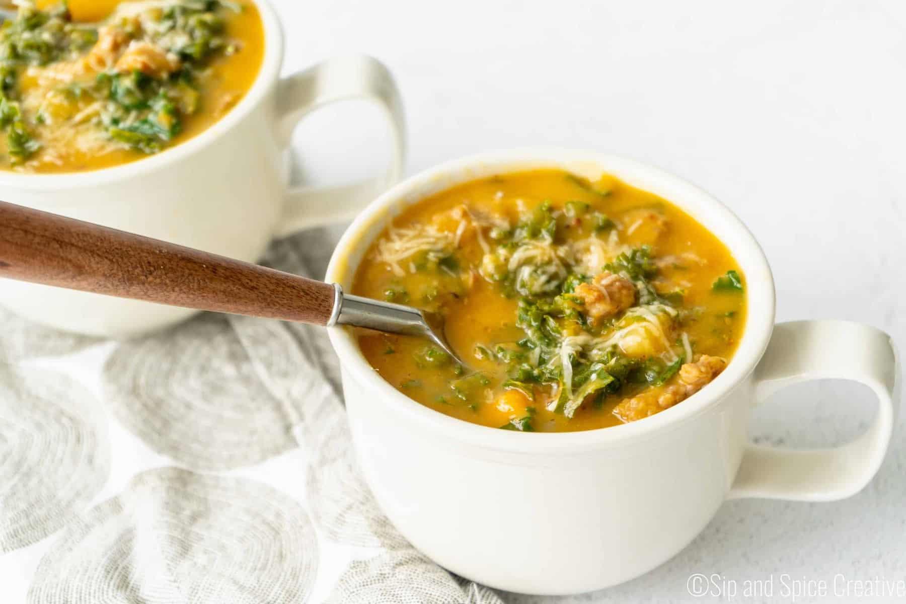 Creamy Sweet Potato Kale Soup with Sausage (Dairy-Free)