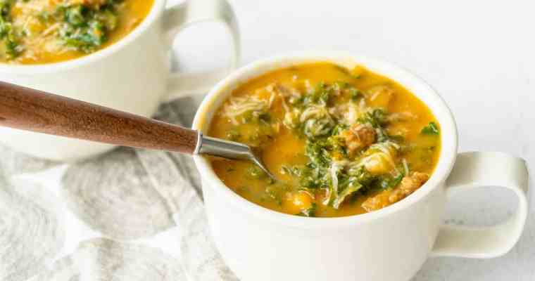 Creamy Sweet Potato Kale Soup with Sausage (Dairy-Free)