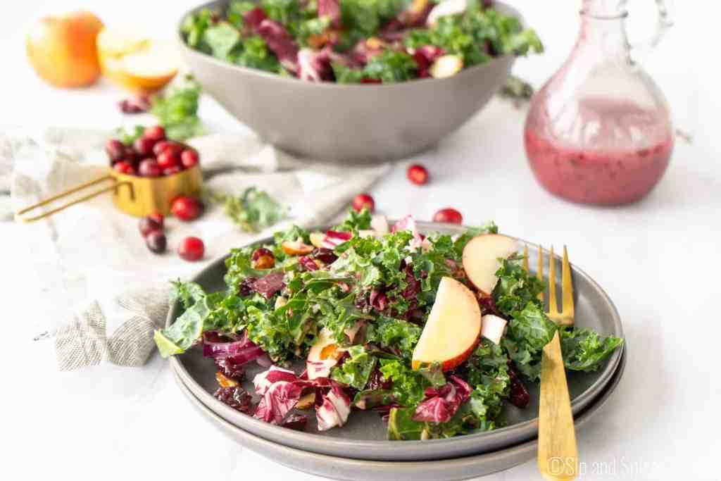 Kale and Radicchio Salad with Cranberry Vinaigrette | Sip and Spice