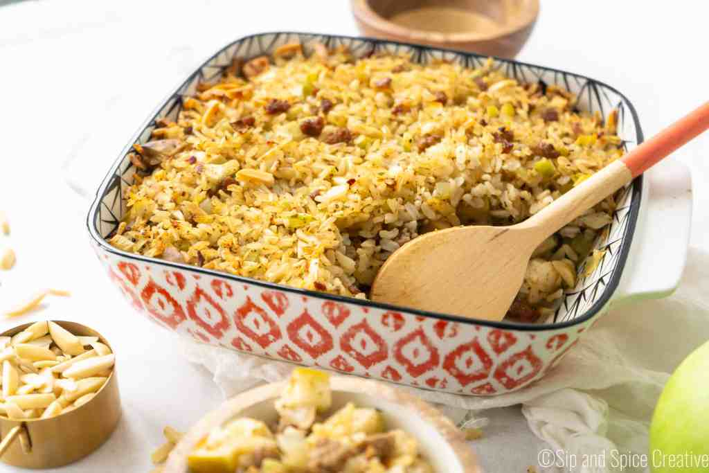 Sausage and Rice Stuffing with Apples and Almonds | Sip and Spice