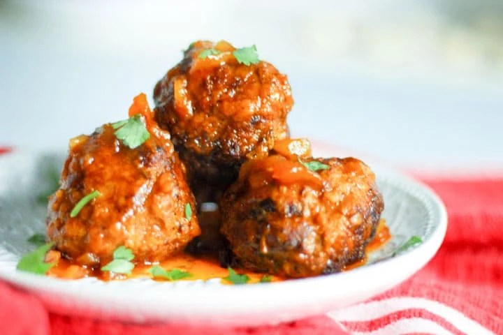 Plate of hawaiian Pineapple BBQ Meatballs