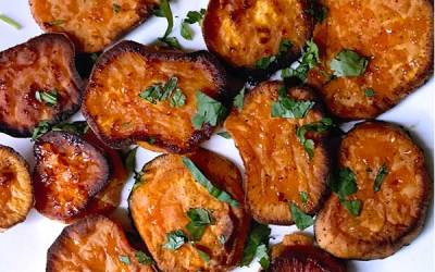 Buttery sweet potatoes oven baked with bleu cheese