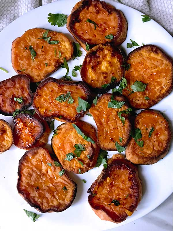 Buttery sweet potatoes oven baked with bleu cheese crumbles
