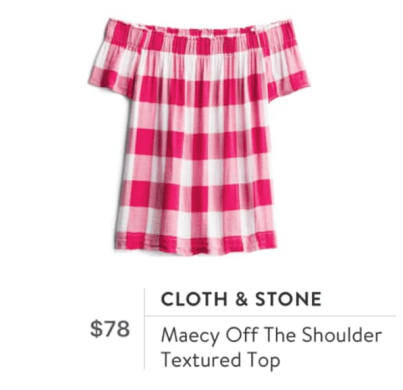 off the shoulder plaid blouse by Cloth & Stone
