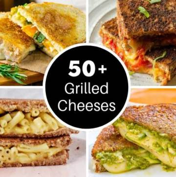 Four gourmet grilled cheeses with ideas in a list