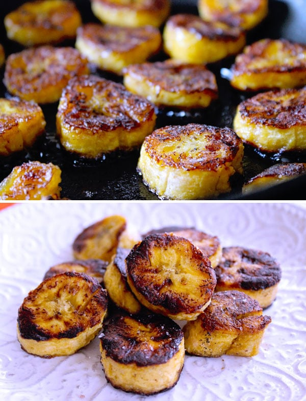white plate with fried sweet plantain slices in a pan