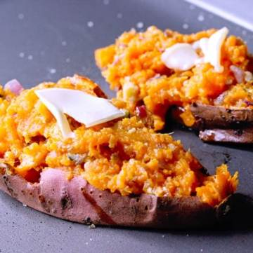 How to bake potatoes for Twice baked sweet potatoes with bleu cheese_8597