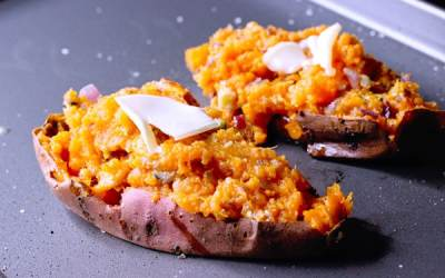 Twice baked sweet potatoes with bleu cheese
