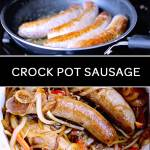slow cooker sausage sandwiches in the crock pot with onions and peppers